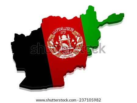detailed illustration of a map of Afghanistan with flag, eps10 vector - stock vector