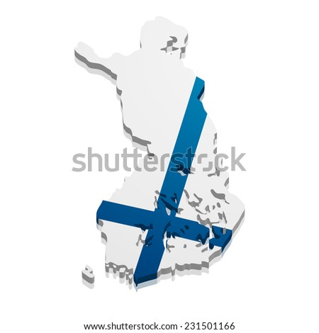 detailed illustration of a map of Finland with flag, eps10 vector - stock vector