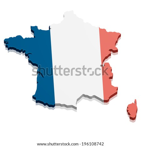 detailed illustration of a map of France, eps10 vector - stock vector