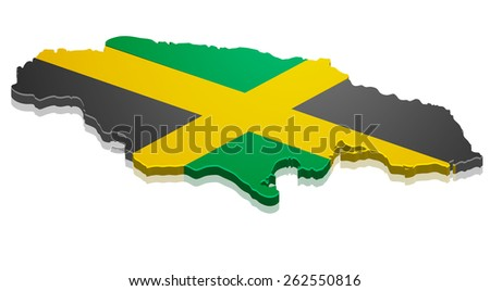 detailed illustration of a map of Jamacai with flag, eps10 vector