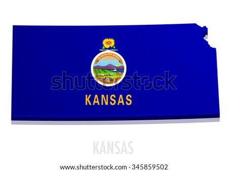 detailed illustration of a map of Kansas with flag, eps10 vector - stock vector