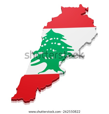 detailed illustration of a map of Lebanon with flag, eps10 vector - stock vector