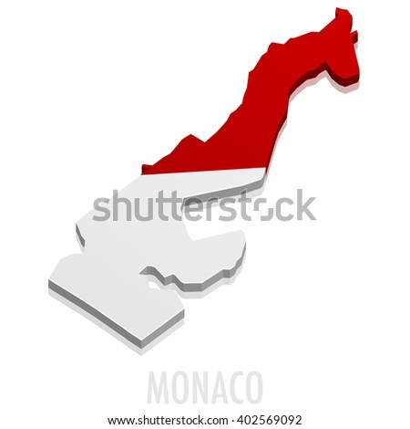 detailed illustration of a map of Monaco with flag, eps10 vector - stock vector