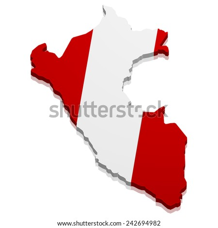 detailed illustration of a map of Peru with flag, eps10 vector - stock vector