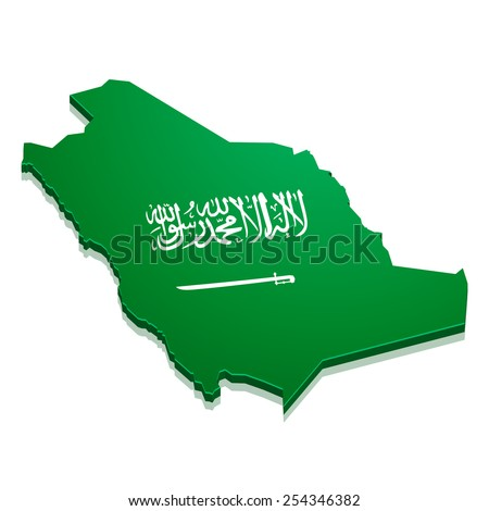 detailed illustration of a map of Saudi Arabia with flag, eps10 vector - stock vector