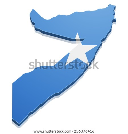 detailed illustration of a map of Somalia with flag, eps10 vector - stock vector