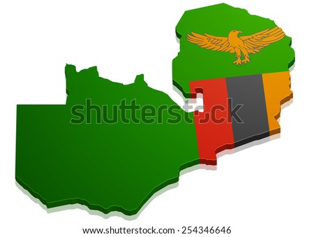 detailed illustration of a map of Zambia with flag, eps10 vector - stock vector