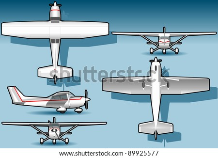 Detailed illustration of a orthogonal white plane in five position. Fully layered/grouped - stock vector
