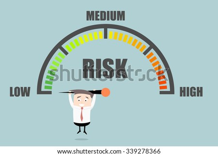 detailed illustration of a person hanging on a risk meter, eps10 vector - stock vector
