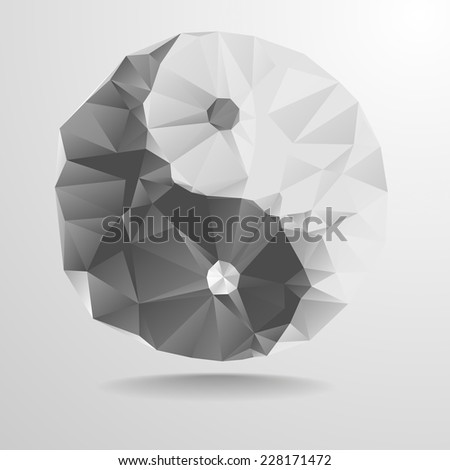 detailed illustration of a polygonal yin yang symbol, eps10 vector - stock vector