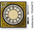 Detailed illustration of a quadrant of victorian big ben clock with lancets - stock vector