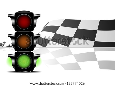 detailed illustration of a racing flag with a green traffic light - stock vector