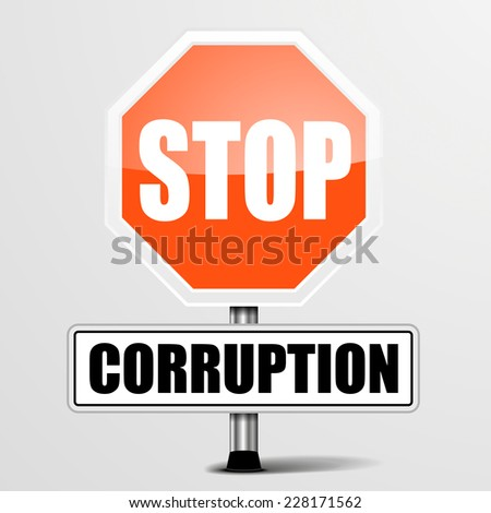 detailed illustration of a red stop corruption sign, eps10 vector - stock vector