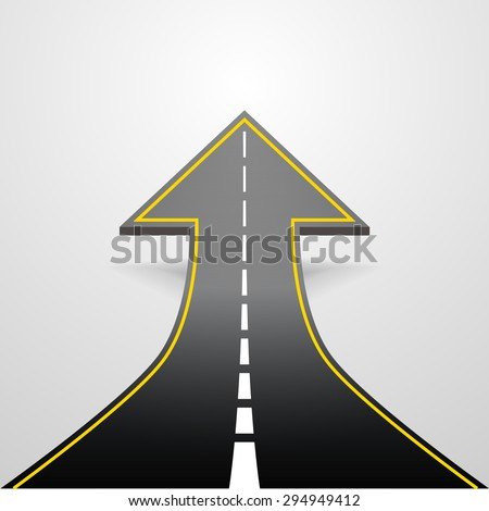 detailed illustration of a road going up as an arrow, eps10 vector - stock vector