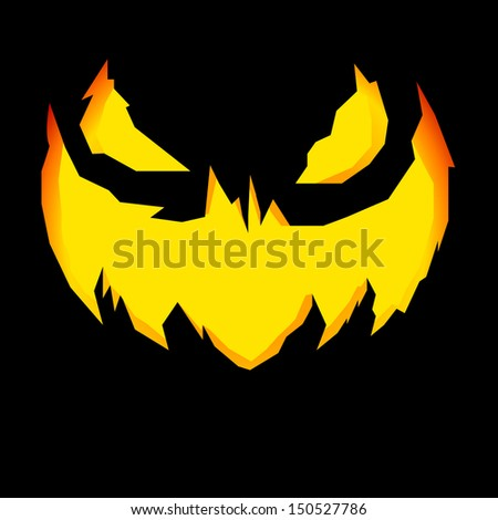 detailed illustration of a scary Jack-o-Lantern face carving - stock vector