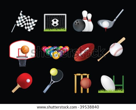 detailed illustration of a series of world wide sports - stock vector