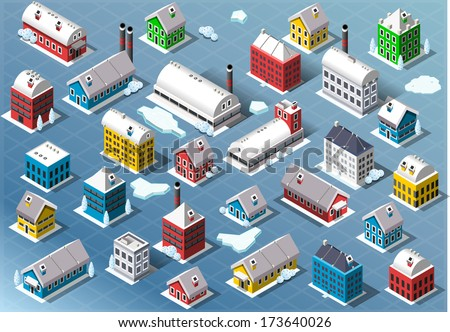 Detailed illustration of a Set of Isometric Building in Winter - stock vector