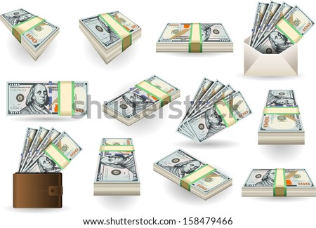 Detailed illustration of a Set of One Hundred Dollars Banknotes in various positions - stock vector