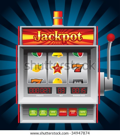 Detailed illustration of a slot machine. - stock vector