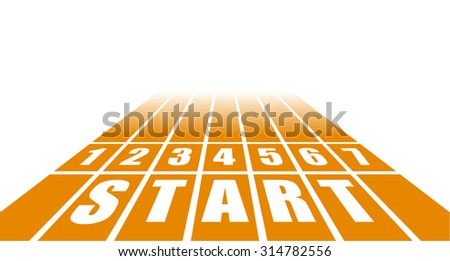 detailed illustration of a start track with perspective view, eps10 vector - stock vector