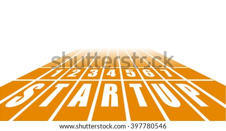 detailed illustration of a startup track with perspective view, eps10 vector - stock vector