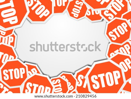 detailed illustration of a stop sign background with blank space, eps10 vector - stock vector