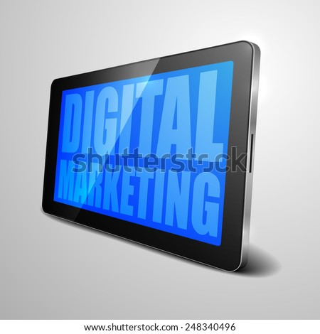 detailed illustration of a tablet computer device with Digital Marketing text, eps10 vector - stock vector