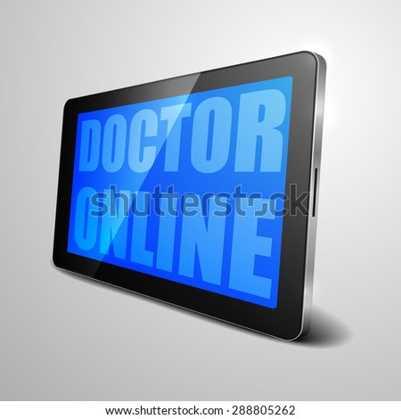 detailed illustration of a tablet computer device with doctor online text, eps10 vector - stock vector