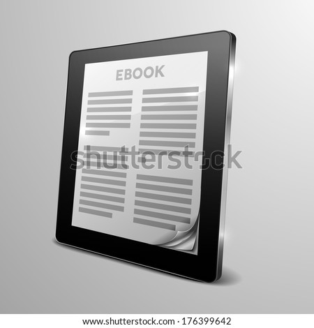 detailed illustration of a tablet computer device with running ebook application and a curled corner, eps10 vector