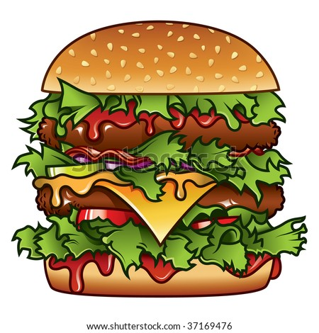 Detailed illustration of a tasty burger that has got it all. - stock vector