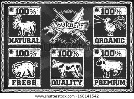 Detailed illustration of a Vintage Butcher Shop Labels on a Blackboard - stock vector