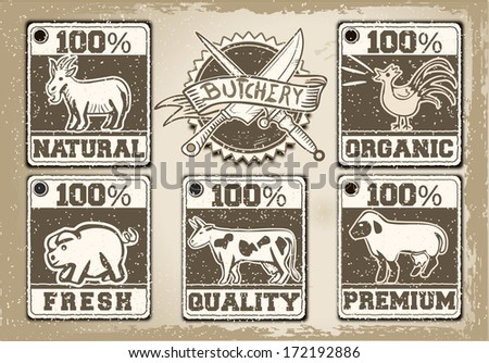 Detailed illustration of a Vintage Labels Page for Butcher Shop - stock vector
