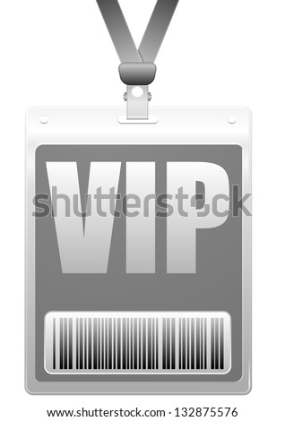 detailed illustration of a VIP badge with barcode, eps10 vector - stock vector