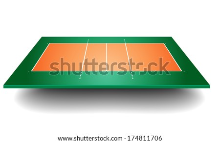detailed illustration of a volleyball court with perspective, eps10 vector - stock vector