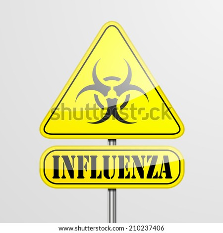 detailed illustration of a yellow influenza biohazard warning sign, eps10 vector - stock vector