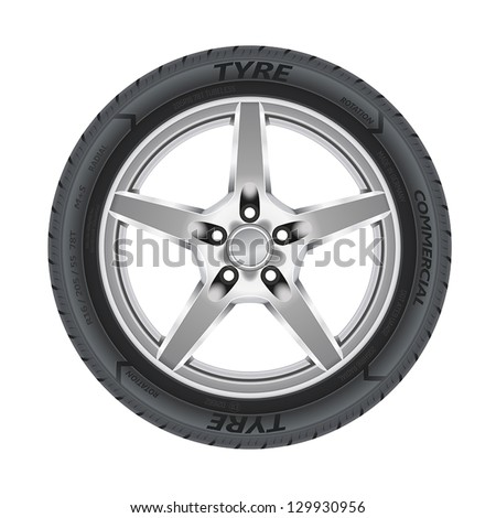 Detailed illustration of alloy car wheel with a tire. - stock vector