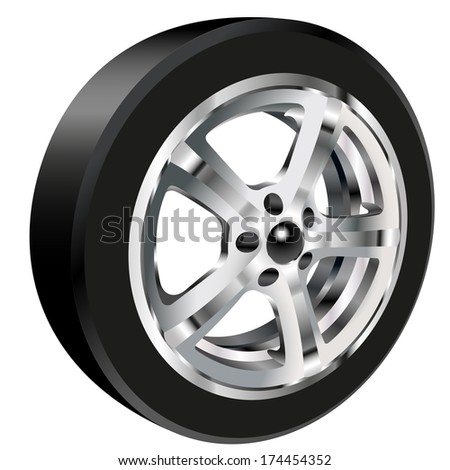 Detailed illustration of alloy car wheel with a tire. Gradient mash
