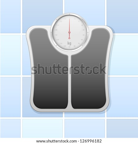 detailed illustration of an analog bathroom scale, eps 10 - stock vector