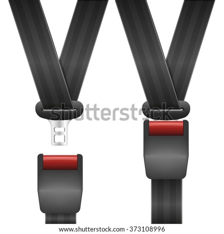 detailed illustration of an open and closed seat belt, eps10 vector - stock vector