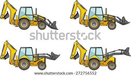 Detailed illustration of backhoe loaders, heavy equipment and machinery - stock vector