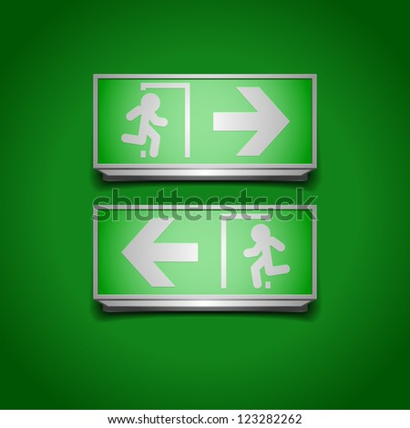 detailed illustration of emergency exit signs - stock vector