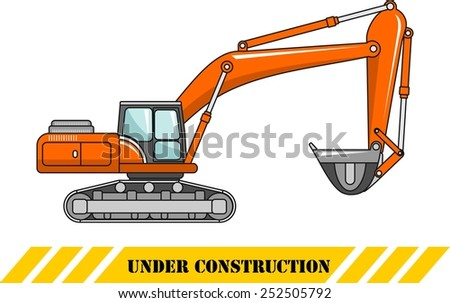 Detailed illustration of excavator, heavy equipment and machinery - stock vector