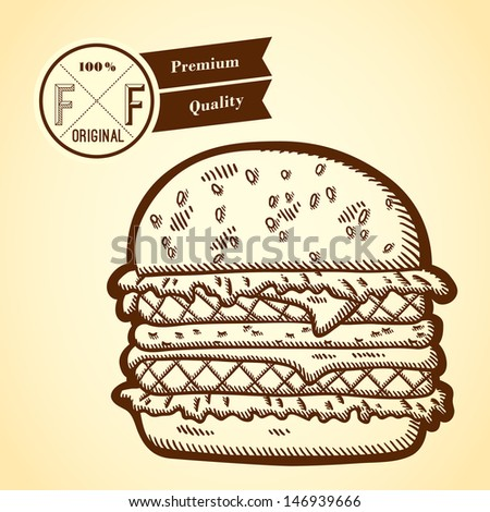 Detailed illustration of fast food in vintage style. Hand drawn. Isolated object on yellow background. Retro label.