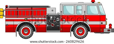 Detailed illustration of fire truck in a flat style - stock vector