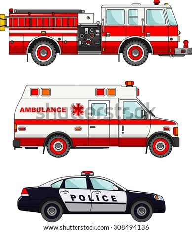 Detailed illustration of fire truck, police and ambulance cars in a flat style - stock vector