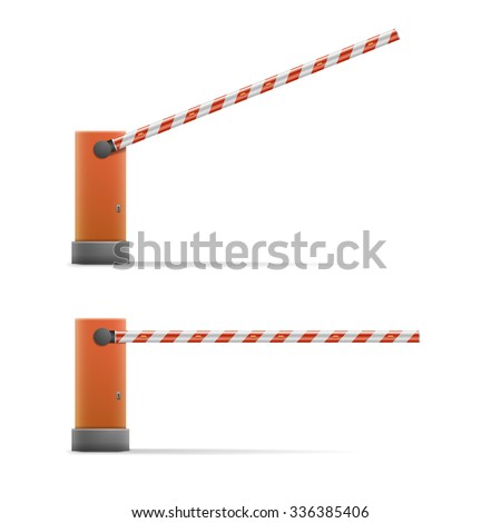 detailed illustration of open and closed car barriers, eps10 vector - stock vector