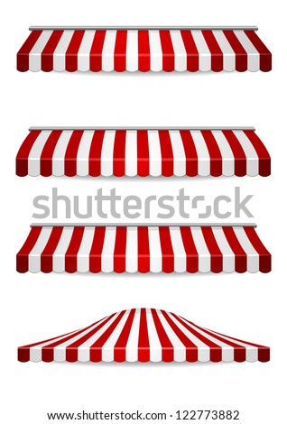 detailed illustration of set of striped awnings - stock vector