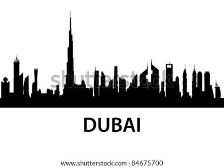 detailed illustration of the city of Dubai, UAE - stock vector
