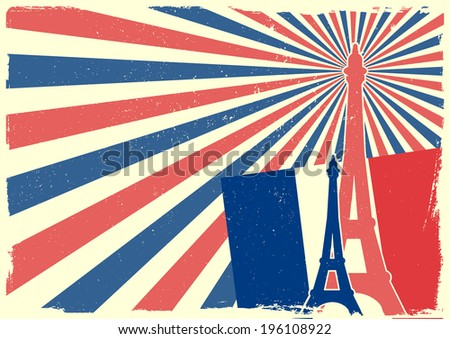 detailed illustration of the Eiffel Tower in front of a grungy patriotic backbround, eps 10 vector