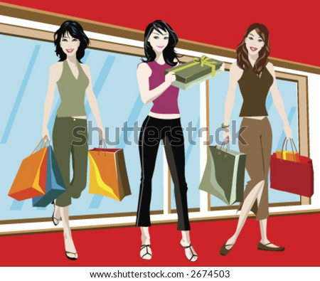 detailed illustration of three woman with shopping bags